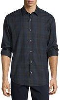 Vince Plaid Flannel Sport Shirt, Blue Pattern