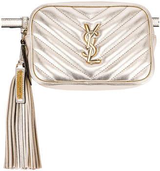 Saint Laurent Lou Monogramme Leather Belt Bag in Platino | FWRD