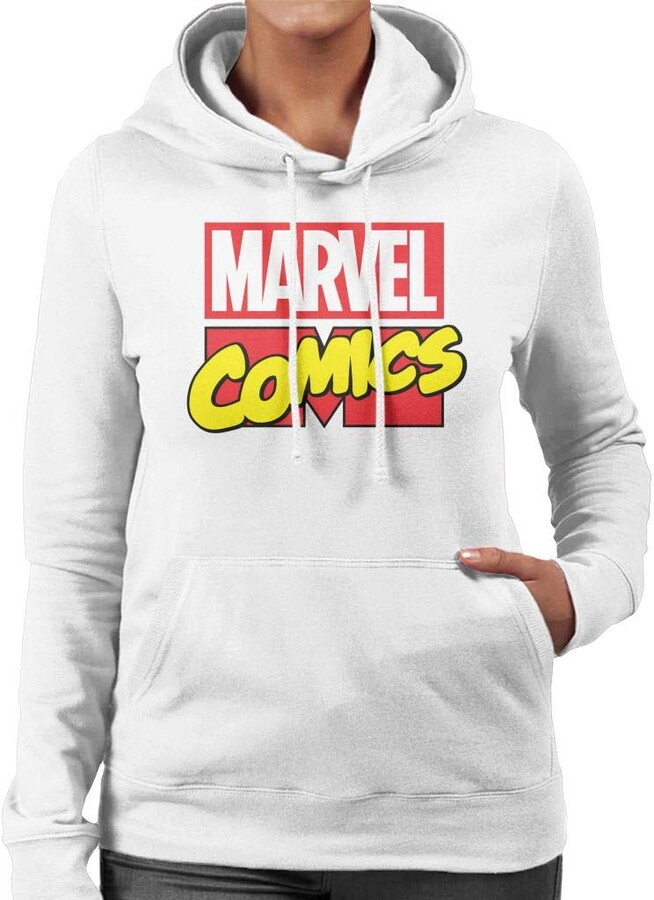 Marvel Comics Classic Font Women's Hooded Sweatshirt White