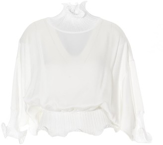 Givenchy Frilled High-Neck Sheer Blouse