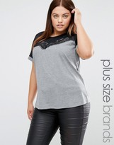 Junarose Short Sleeve Color Block Jersey Top With Lace Overlay