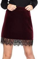 Miss Selfridge Velvet Lace Hem Skirt