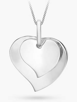 IBB Personalised Sterling Silver Double Heart Necklace, Silver