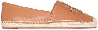 Tory Burch brown Ines flat leather canvas espadrilles