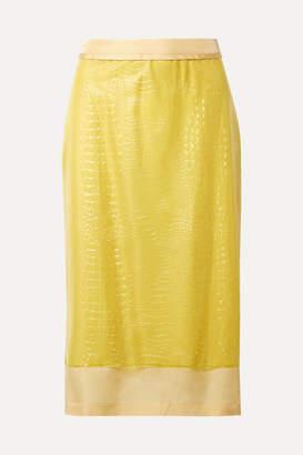Sies Marjan Sula Layered Croc-effect Vinyl And Silk-satin Midi Skirt - Yellow