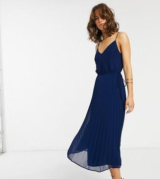 Asos Tall ASOS DESIGN Tall pleated cami midi dress with drawstring waist