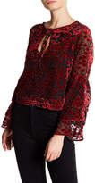 Lucca Couture Skyler Floral Velvet Burnout Blouse