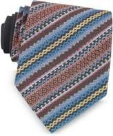 Missoni Blue and Brown Diagonal Stripe and Geometric Woven Silk Tie