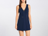 Karla Colletto Basic Lace-Up V-Neck Dress
