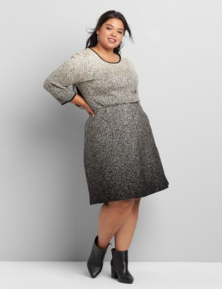 Lane Bryant 3/4-Sleeve Ombre Fit & Flare Sweater Dress
