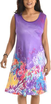 Shoreline Women's Casual Dresses PURPLE - Purple Coral Reef Sleeveless A-Line Dress - Women