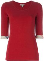 Burberry 'House check' cuffs T-shirt - women - Cotton/Spandex/Elastane - S