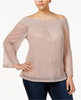INC International Concepts Plus Size Off-The-Shoulder Metallic Top, Only at Macy's