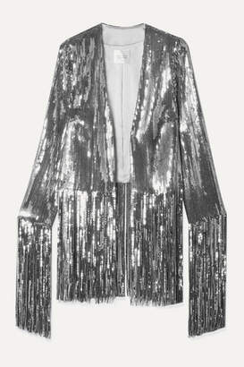 Galvan Stardust Fringed Sequined Tulle Jacket - Silver