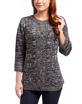 Black Marled Cable-Knit Three-Quarter Sleeve Sweater