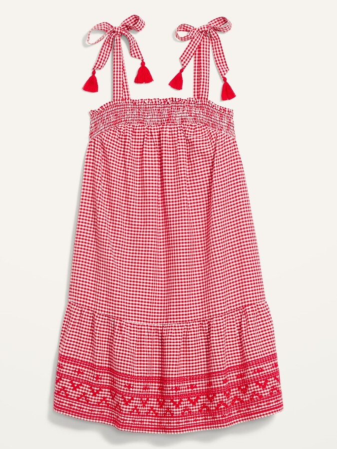Thumbnail for your product : Old Navy Sleeveless Tiered Gingham Swing Mini Dress for Women
