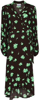 Ganni floral-print V-neck midi dress