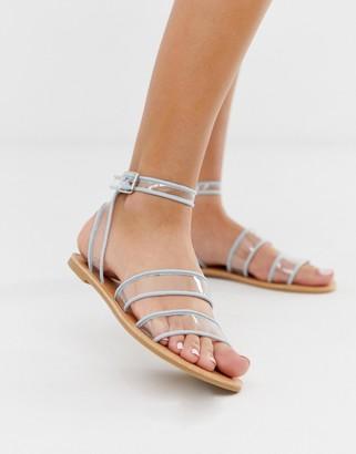 Park Lane flat clear strap sandals