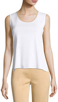 Ming Wang Contrast-Trim Scoop-Neck Knit Tank, White/Sand
