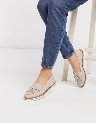 Dune garbo suede chunky sole tassel loafers in blush