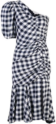 Jonathan Simkhai gingham asymmetric gathered dress