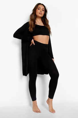 boohoo 3 Piece Legging and dressing gown Lounge Set
