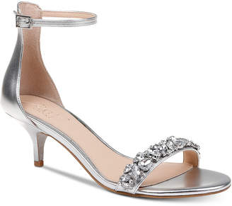 Badgley Mischka Dash Kitten-Heel Evening Sandals Women Shoes