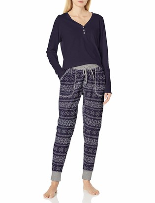 Splendid Women's Long Sleeve Henley and Jogger Pajama Lounge Set