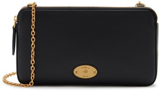 Mulberry Plaque Wallet on Chain Black Small Classic Grain
