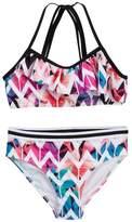 Jantzen Tropicana Floral Chevron Ruffle Top Bikini (Big Girls)