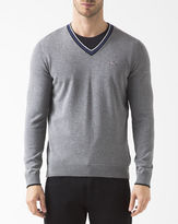 Lacoste Grey White Trim PR V-Neck Jumper