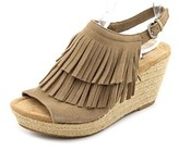 Minnetonka Ashley Women Open Toe Suede Nude Wedge Sandal.