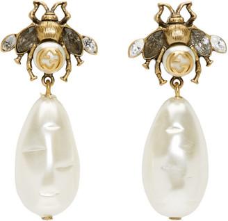 Gucci Gold Pearl Bee Drop Earrings
