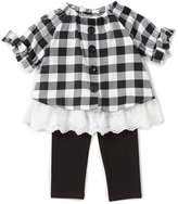 Rare Editions Little Girls 2T-6X Checked Lace-Trim Top & Solid Leggings Set