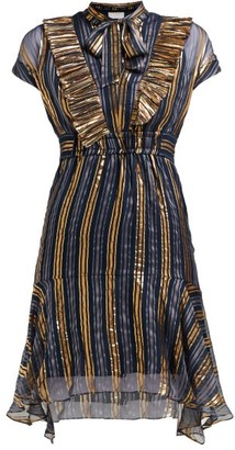 Peter Pilotto Metallic Striped Silk-blend Chiffon Dress - Womens - Gold Multi