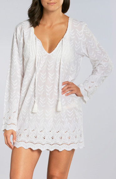 OndadeMar Hand Embroidered Cotton Tunic