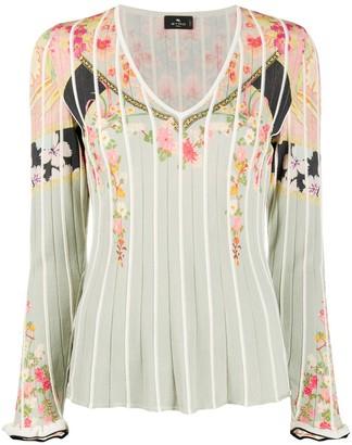 Etro Floral-Print Bell Sleeve Jumper