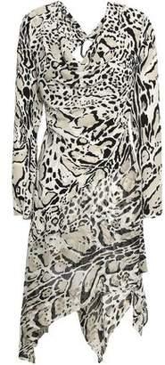 Roberto Cavalli Asymmetric Open-back Leopard-print Silk Crepe De Chine Mini Dress
