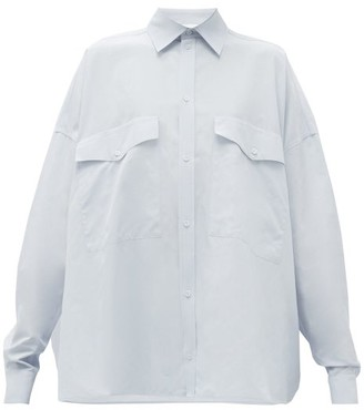 Raey Oversized Chest-pocket Cotton-blend Shirt - Blue