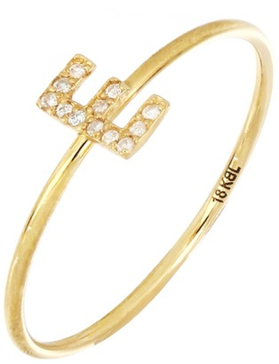 Bony Levy 18K Yellow Gold Pave Diamond Initial RIng