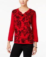 Alfred Dunner Petite Wrap It Up Flocked Sweater