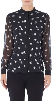Jones New York Print Collarless Button-Up Shirt