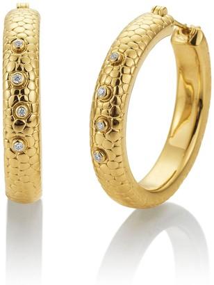Breuning 18K Gold Plated Sterling Silver White Sapphire 30mm Hoop Earrings