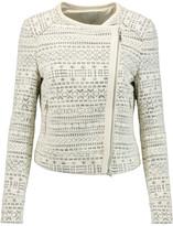 Joie Pattyn leather-trimmed cotton-blend bouclé jacket