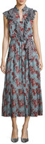 Robert Rodriguez Rose-Print Sleeveless Belted Dress with Ruffle Trim, Blue