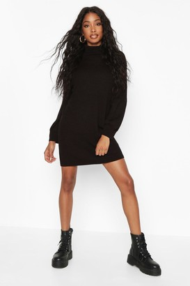 boohoo Roll Neck Blouson Sleeve Jumper Dress