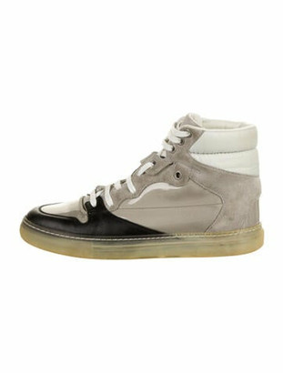 Balenciaga Suede Colorblock Pattern Sneakers Grey