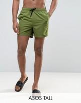 Asos TALL Swim Shorts In Khaki Short Length