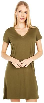 Madewell Northside Vintage V-Neck Tee Dress (Golden Pecan) Women's Clothing