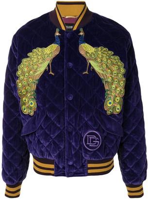 Dolce & Gabbana Peacock velvet-effect bomber jacket
